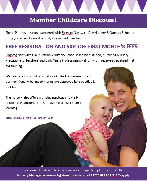 Discount for Elmscot Nantwich Nursery for Single Parents